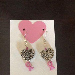 Brand new beautiful breast cancer heart earrings